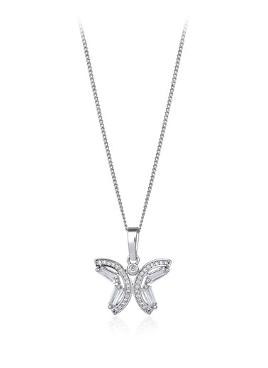 1,60 Ct Pırlanta Efekt Altın Butterfly Trapes Kolye-Tophills Diamond Co.